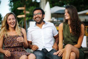 happy men with 2 girls